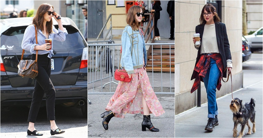 10 Street style ala Dakota Johnson, tampil simpel dan effortless chic