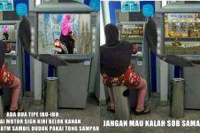 10 Meme ibu yang viral duduk di ATM ini bikin salah fokus, kocak deh!