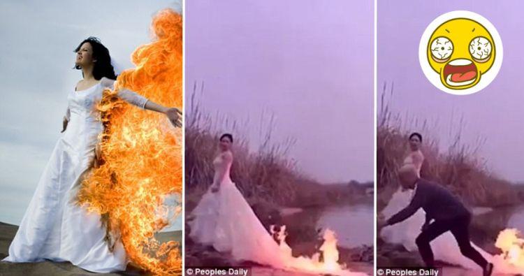 Tren bakar gaun demi foto prewedding memukau, berbahaya namun populer