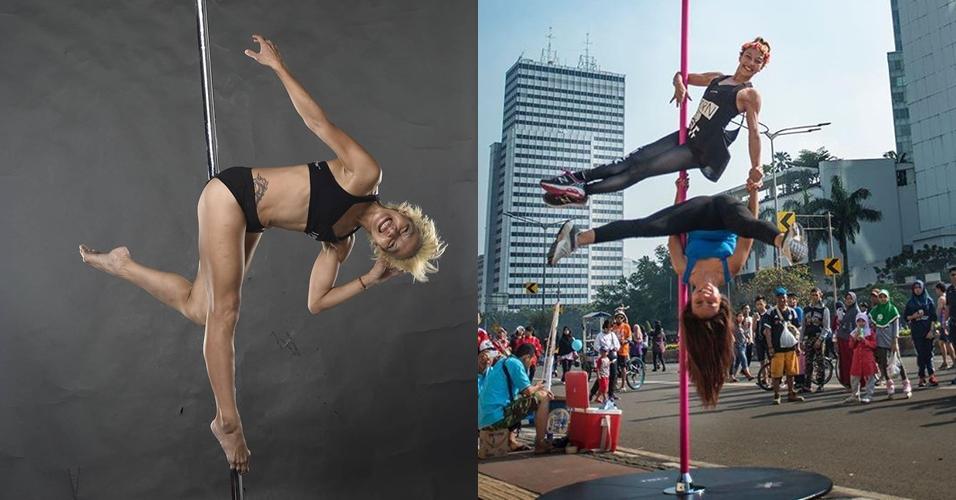 10 Gaya Vicky Burki bermain pole dance, enerjik dan bersemangat