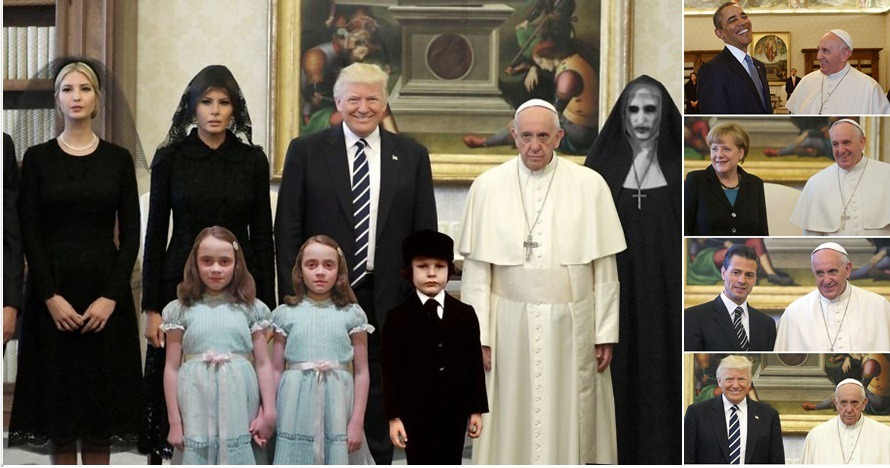 15 Meme mimik muka Paus Francis saat bertemu Donald Trump, kocak