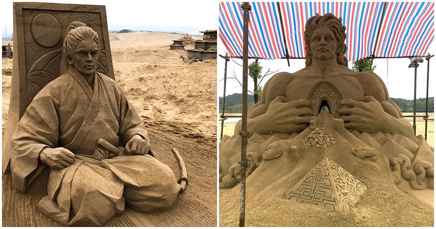 10 Patung raksasa ini dibuat dari pasir pantai, detailnya bikin takjub