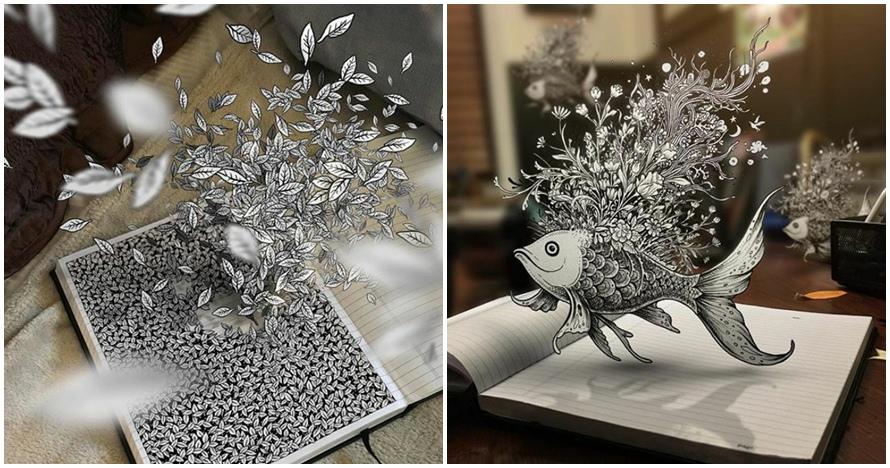 10 Doodle 3D ini magic banget, bisa sampai keluar halaman buku