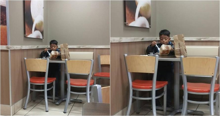 Potret bocah makan sendirian ini sentil orangtua yang sibuk bekerja