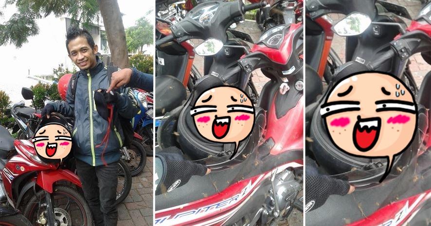 Parkir motor lalu taruh helm di jok, pria ini kaget usai lihat isinya