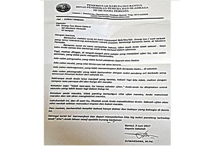 Surat Kepala Sekolah Di Bantul Untuk Orangtua Siswa Ini