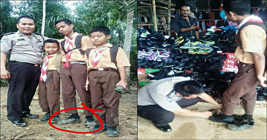 Aksi polisi belikan sepatu baru siswa bersepatu butut ini tuai pujian