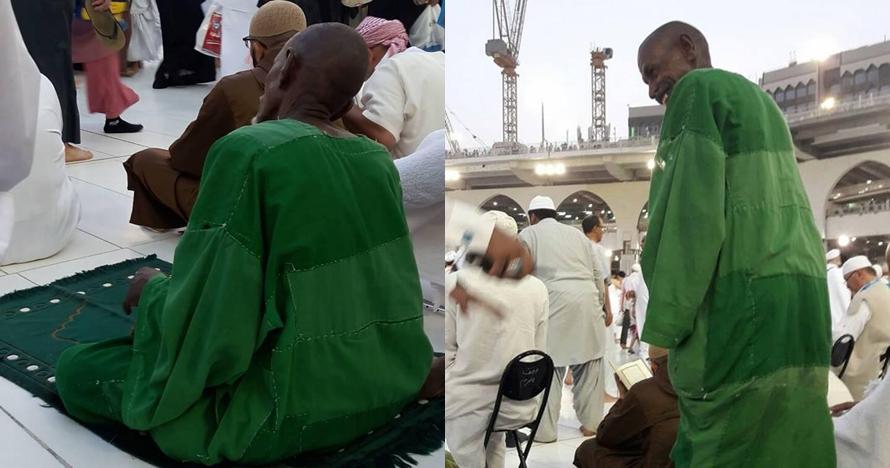 Sosok misterius berjubah hijau di Mekah ini bikin netizen penasaran