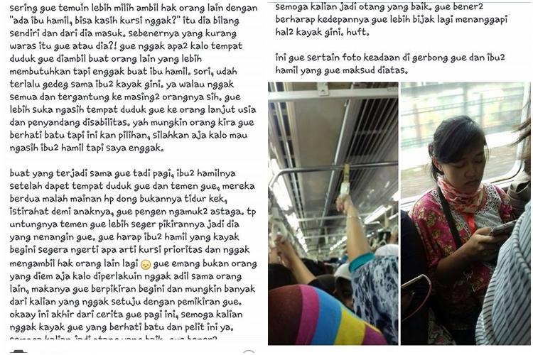 Hujat wanita hamil di KRL, wanita ini jadi bulan-bulanan netizen © 2017 facebook