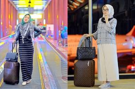 10 Airport style ala Dian Pelangi ini bisa ditiru nih, hijab traveler