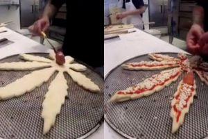 Tak selalu bulat, bentuk pizza ini menyerupai daun ganja
