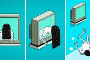 12 Ilustrasi kartun lucu bikin film horor jadi nggak menakutkan