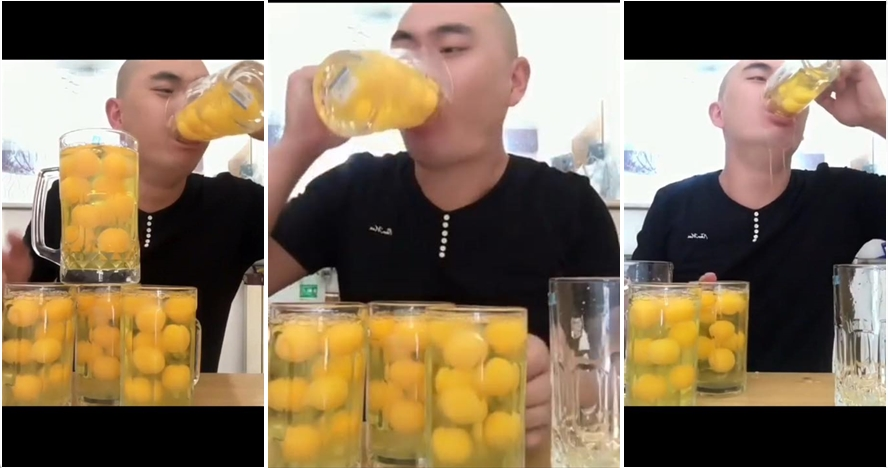 Video cowok tenggak 100 telur dalam 15 detik ini viral di media sosial