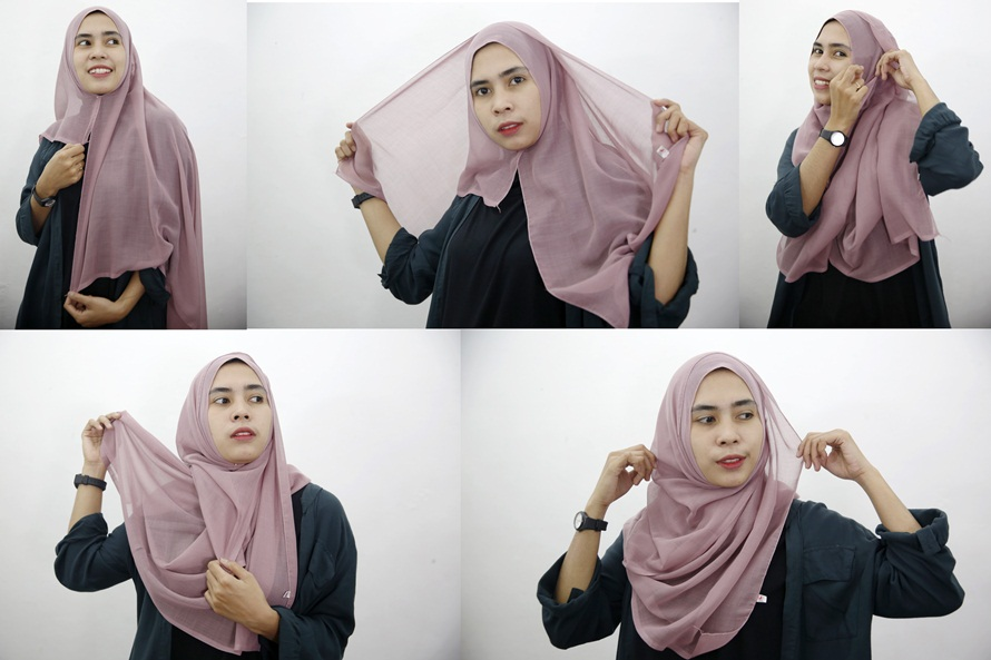 9 Tutorial hijab segi empat simpel cocok bagi yang belajar berjilbab berbagai sumber