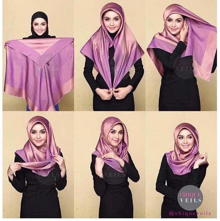 9 Tutorial hijab segi empat simpel cocok bagi yang belajar