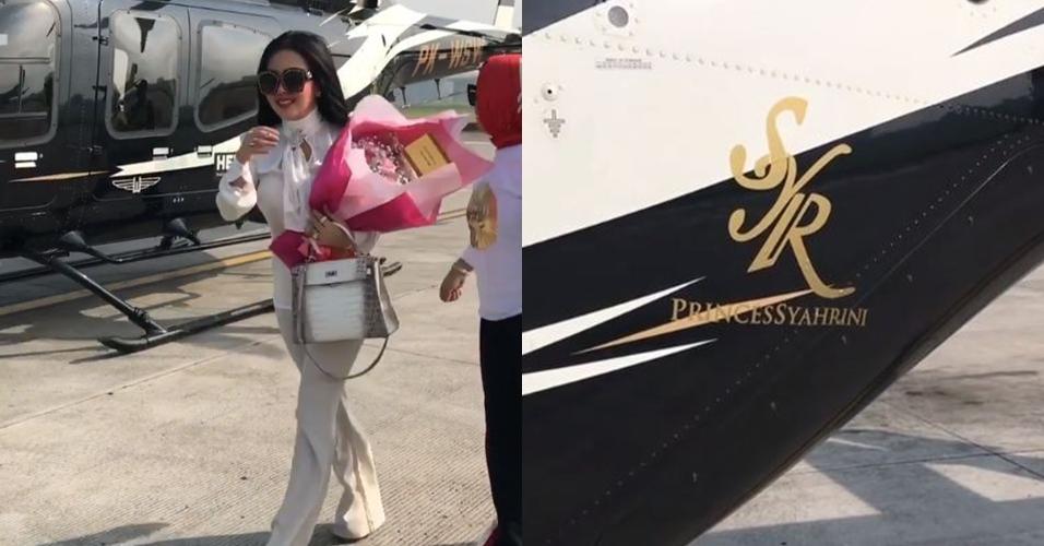Buka toko kue di Bandung, Syahrini naik helikopter pribadi