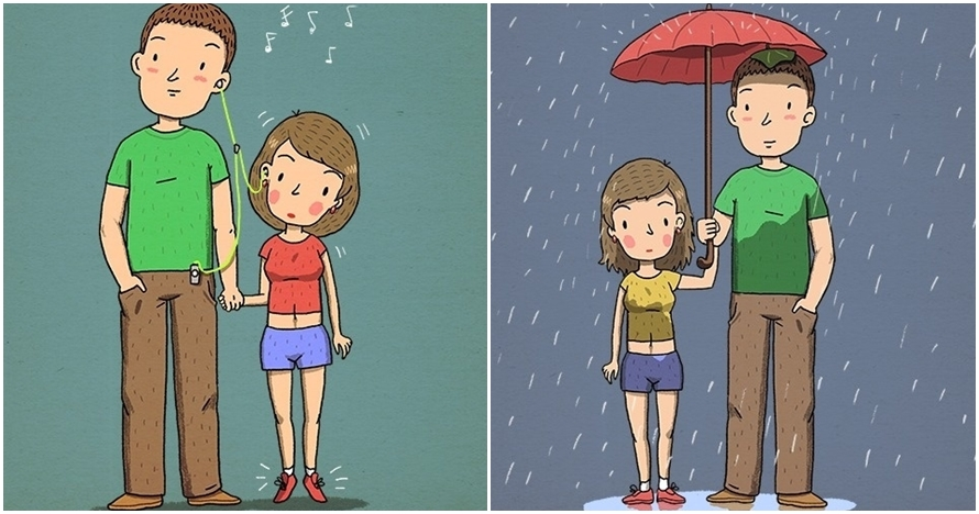 10 Ilustrasi tunjukkan rempongnya punya pasangan tinggi, kamu juga?