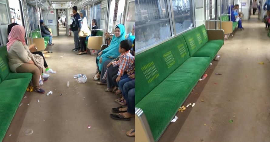 Potret miris sampah berserakan di commuter line ini bikin ngelus dada