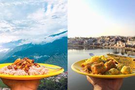 Unik, cowok ini selalu makan di piring kuning saat keliling India