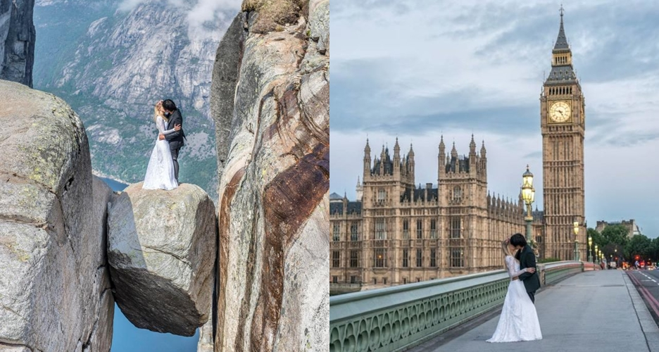 Foto pre-wedding di 16 negara, pasangan romantis ini hebohkan dunia