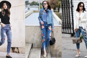 10 Mix & match celana jeans embroidered, tren fashion yang hits banget