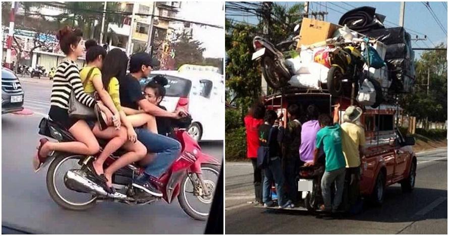 11 Potret pengendara di Thailand ini kocak sekaligus bikin ngelus dada