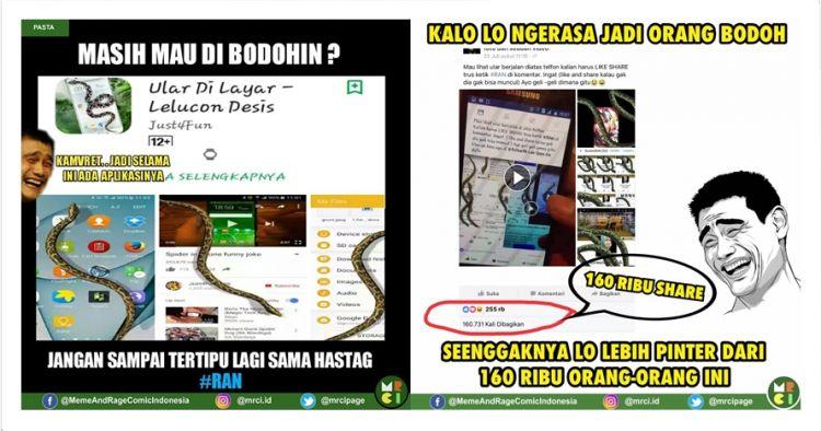 8 Meme 'gara-gara ular' ini sindir kamu yang ketipu ketik #RAN di FB