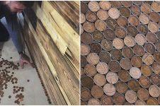 Pria ini hias lantai tokonya pakai 70.000 koin, hasilnya bikin takjub