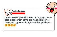 Cewek mengeluh dibonceng motor pacarnya, reaksi netizen bikin ngakak