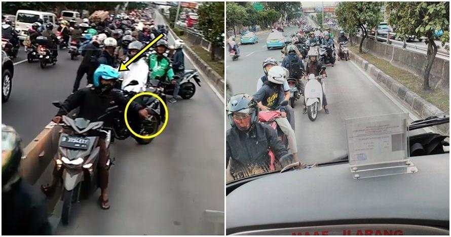 Lagi, kelakuan pengendara motor di busway Jakarta ini bikin geretan!