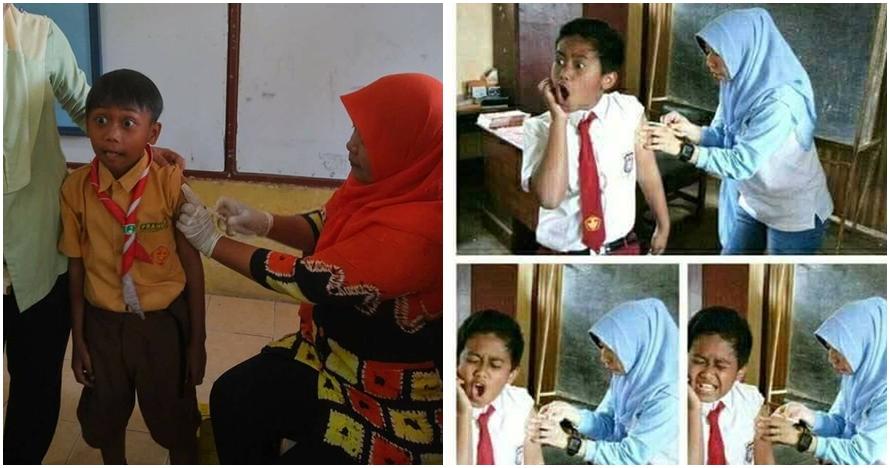 15 Foto ekspresi kocak anak sekolah saat diimunisasi, dijamin ngakak!