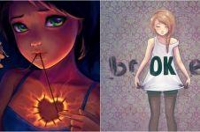 17 Ilustrasi karya seniman penderita depresi ini simpan makna mendalam