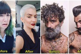 10 Foto before-after orang ganti gaya rambut, bikin pangling