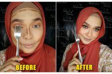 Cuma pakai garpu, hasil makeup cewek ini bikin melongo