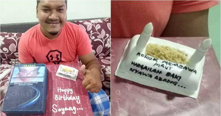 Suami perokok ulang tahun, sang istri sindir keras lewat kue ultah