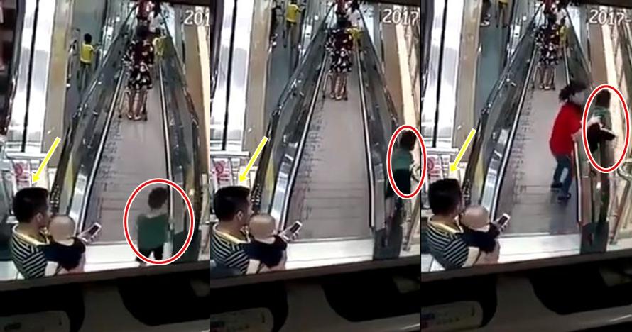 Sang ayah sibuk main HP, anak ini hampir jatuh dari eskalator