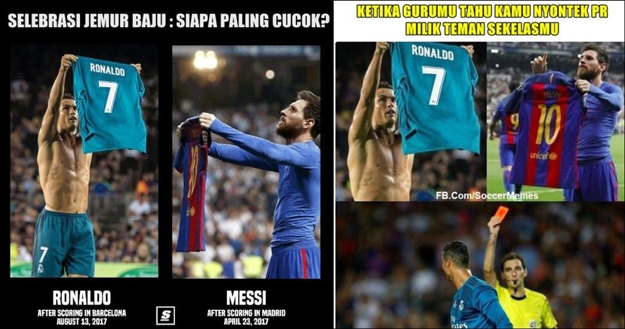 10 Meme 'jemur baju' ala Ronaldo & Messi bikin fans layar kaca ribut