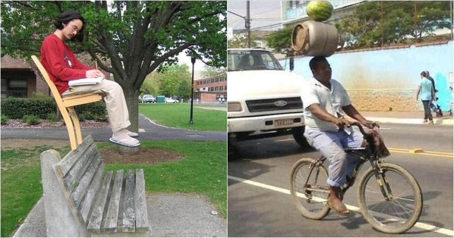 13 Potret 'tantangan keseimbangan' ini tak bisa jika nggak diketawain