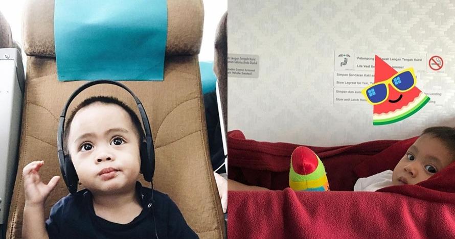 5 Foto seleb saat terbang bareng buah hatinya di pesawat, bikin gemes