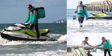 Unik, jasa ini bisa mengantarkan pesanan makanan menggunakan jet ski