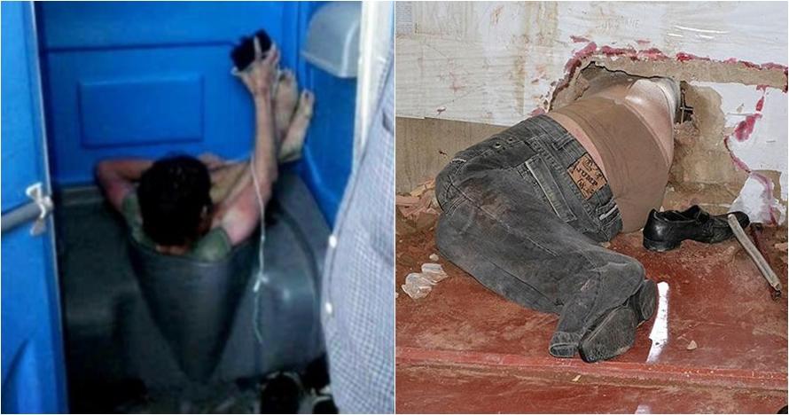 7 Momen apes orang kejebak di tempat tak biasa, ada yang kejepit di WC
