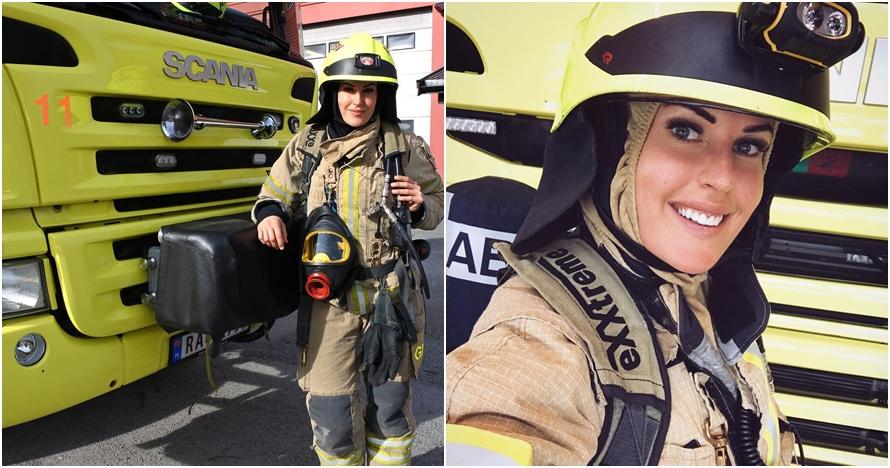 Amboi cantiknya pemadam kebakaran ini, 10 aksinya bikin cowok terpana