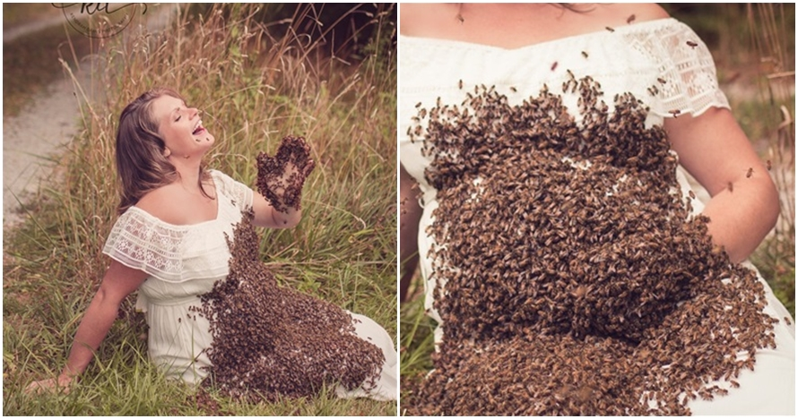 Berfoto dengan 20 ribu lebah, 5 aksi ibu hamil ini bikin merinding