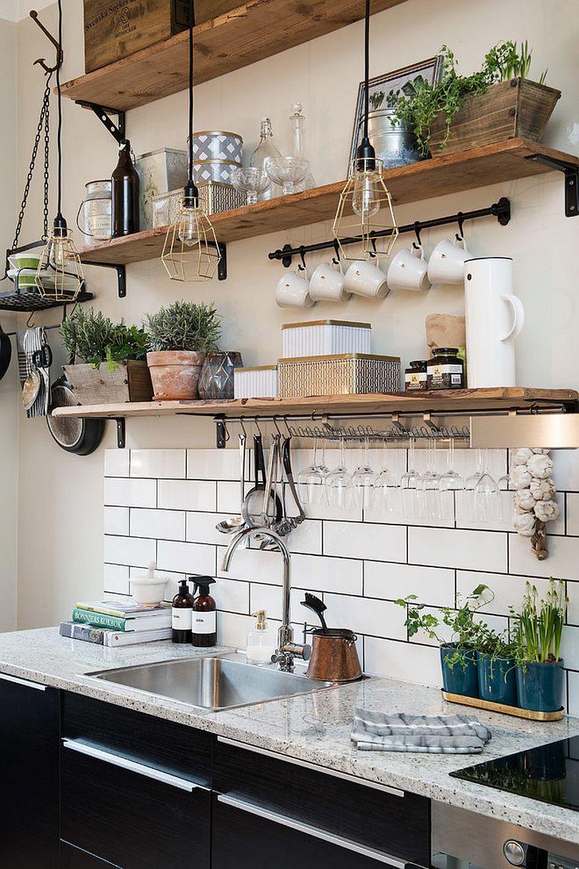 20 Desain Rak Kayu Lawasan Buat Dapur Rumahmu Bikin Betah Masak Nih