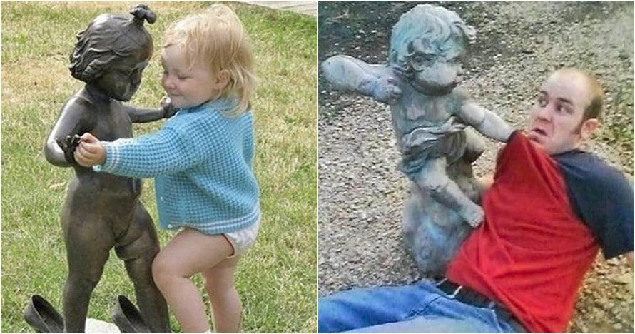 17 Pose konyol manusia & patung ini hibur kamu di hari patah hati