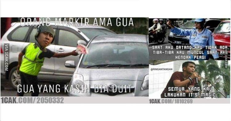 14 Meme tukang parkir yang suka muncul tiba-tiba ini lawak abis