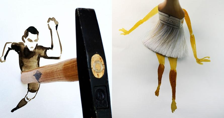 10 Karya ini dibuat dari perpaduan benda dan cat, ide cemerlang