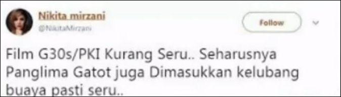 Dituding hina Panglima TNI ini tanggapan Nikita Mirzani © 2017 twitter