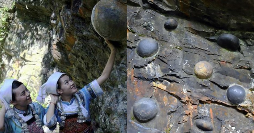 5 Penampakan 'tebing bertelur' di China, bisa sebesar bola basket