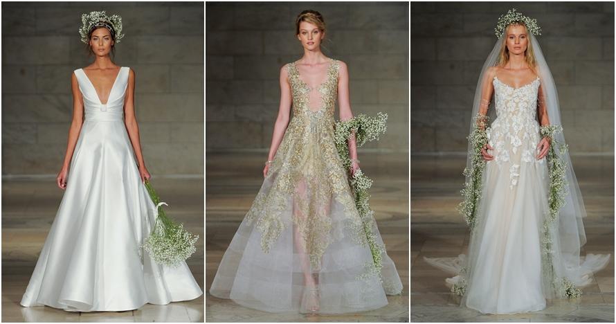 Tak glamor, 12 gaun pengantin Reem Acra ini desainnya simpel & klasik